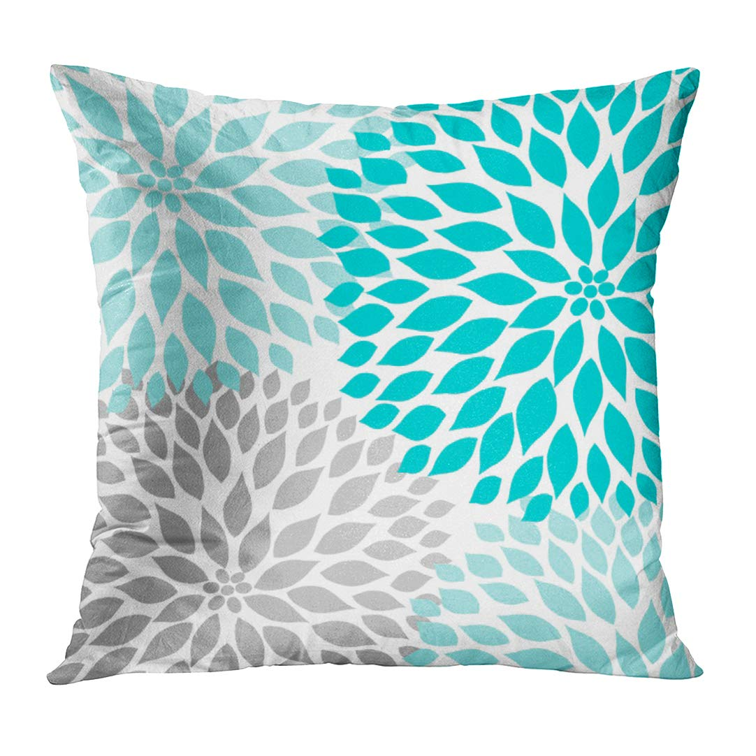 Emvency Throw Pillow Cover Teal White Turquoise Blue Gray Dahlia Mod Baby Decorative Pillow Case Home Decor Square 16 x 16 inch Pillowcase