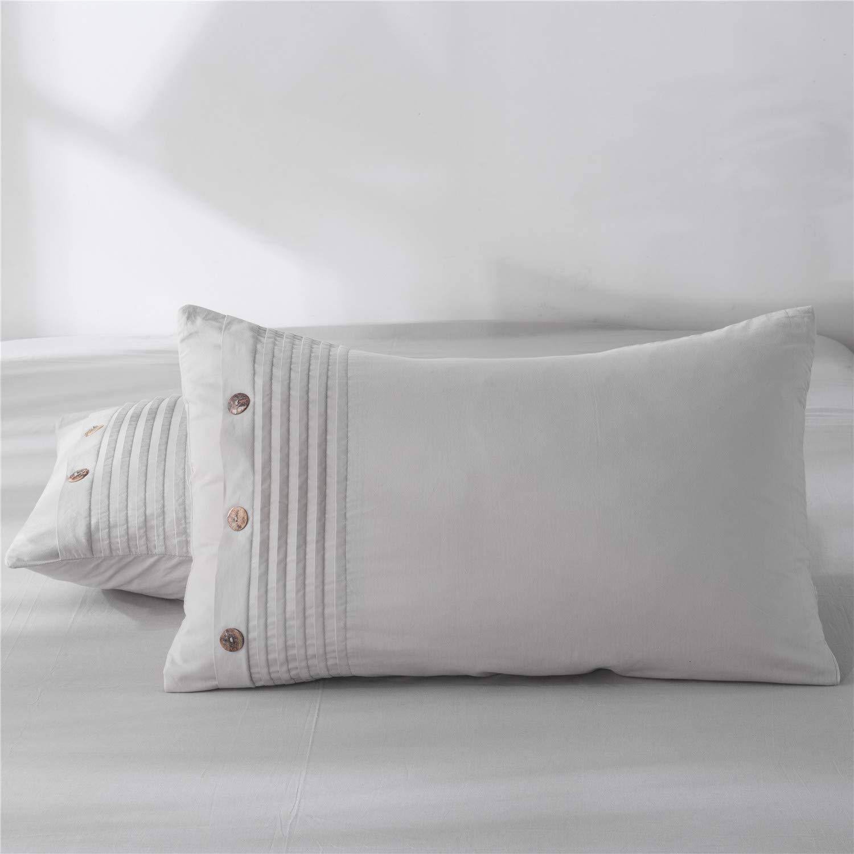 Three Baby 100%ウォッシュドコットン枕カバー ホワイトスタンダード枕カバー 2個セット ピュアナチュラル100%コットン枕 睡眠用 ソフトベッド枕カバー クイーン グレー クイーン ライトグレーストライプ B07QCK1TM5