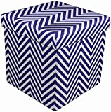 Sorbus Chevron Storage Ottoman Cube – Foldable/Collapsible with Lid Cover – Perfect Hassock, Foot Stool, Toy Storage Chest, and More (Small-Ottoman, Chevron Navy Blue)