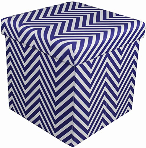 Sorbus Chevron Storage Ottoman Cube - Foldable/Collapsible with Lid Cover - Perfect Hassock, Foot Stool, Toy Storage Chest, and More (Small-Ottoman, Chevron Navy Blue)