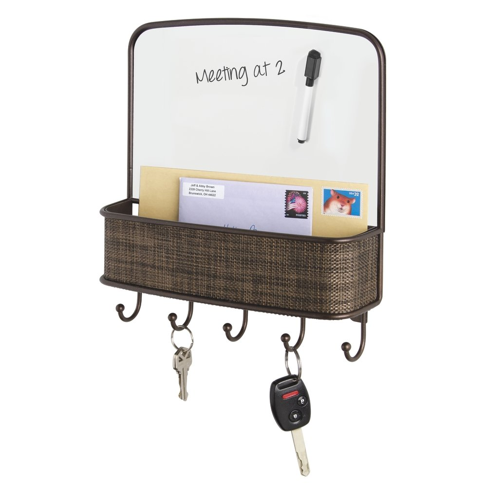 mDesign Dry Erase Board with Mail and Key Organizer for Kitchen, Hallway, Entryway - Wall Mount, Bronze