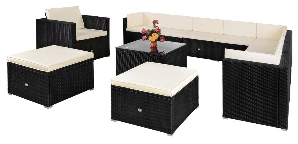 large rattan garden furniture set outdoor patio. Black Bedroom Furniture Sets. Home Design Ideas