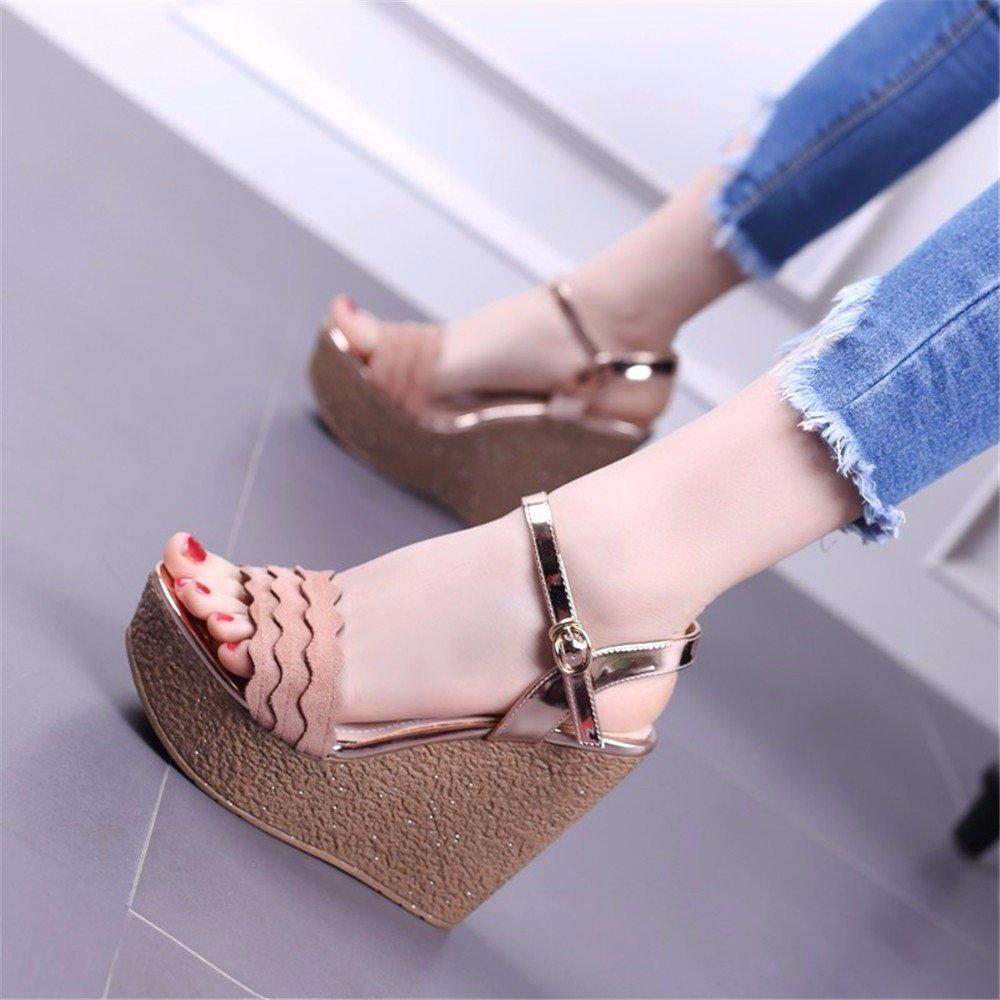 Rose YMFIE @Summer Mode Dentelle Bas épais et Confortables Pente Toe Toe Sandales Chaussures de Plage Vierge. 38 EU