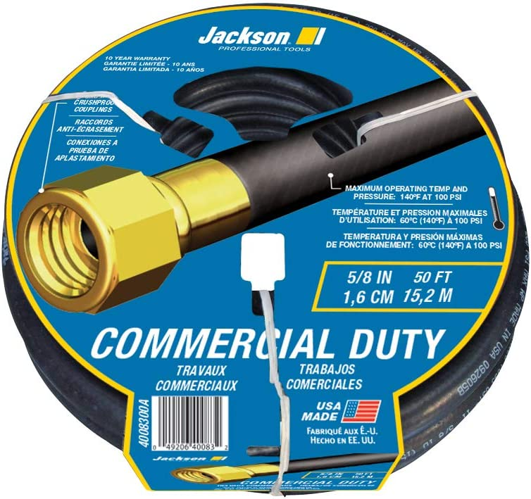 Jackson 4008300A Rubber Commercial Duty Hose, 5/8-Inch x 50-Foot