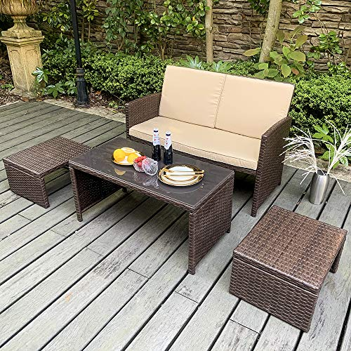 OC Orange-Casual Outdoor 4 Pieces Brown Rattan Wicker Loveseat Sofa Furniture Set with Ottoman & Glass Coffee Table, with Beige Seat Cushion, Garden Poolside Lawn Porch (Furniture Pads Seat Rattan)