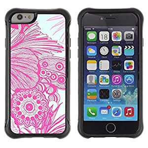 Fuerte Suave TPU GEL Caso Carcasa de Protección Funda para Apple Iphone 6 PLUS 5.5 / Business Style Floral Flowers White Drawing Hand Art