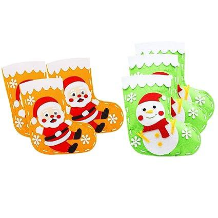 Baoblaze 6 Juegos Apliques de Fieltro Decorativo Papá Noel Calcetines Muñeco de Nieve para Niños Navidad