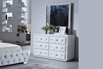 Artikle Leather White 6 Drawer Leather Dresser of Chest wth Mirror