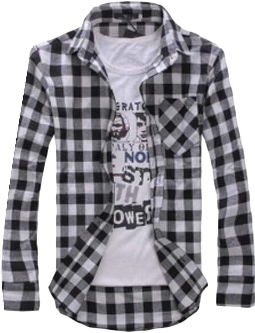 Generic Mens Classic Fit Cotton Long-Sleeve Plaid Casual Poplin Shirt