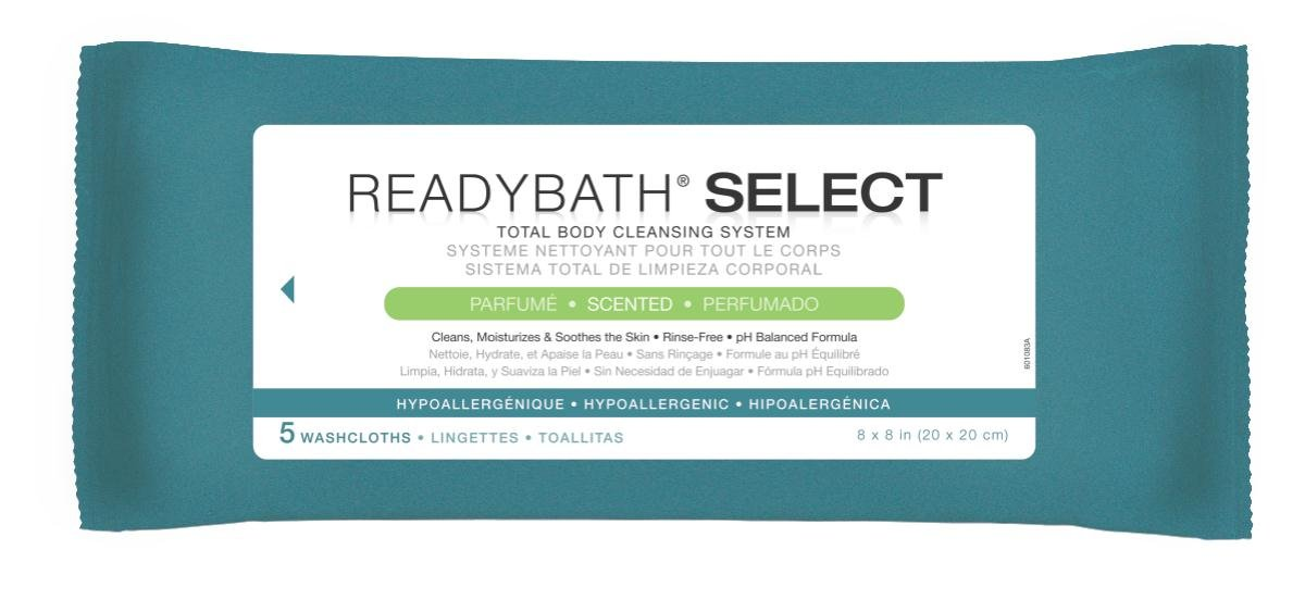 Medline ReadyBath Select Scented Body Cleansing Cloths, Medium Weight (5 Count Pack, 30 Packs)