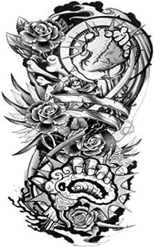Moda flor brazo tatuaje pegatinas realista flor carpa unicornio ...