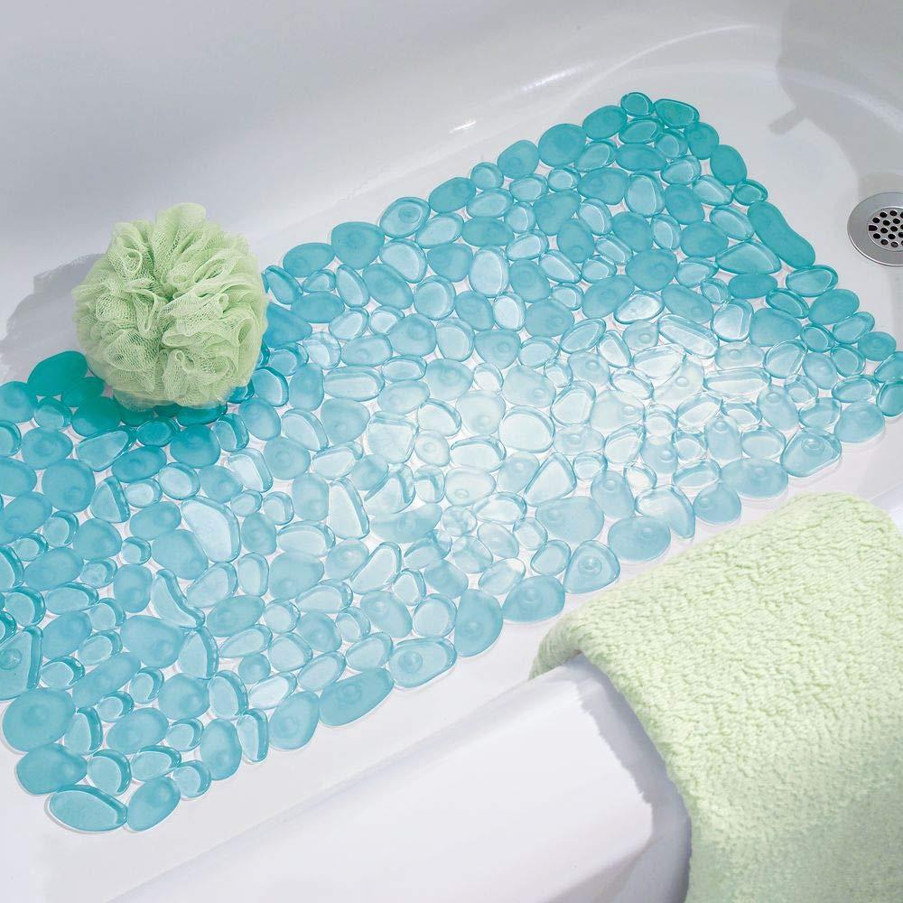 Poggiapiedi e scendidoccia impermeabile per bagno Blu con motivo a ciottoli Tappetino doccia con ventose mDesign Morbido tappeto bagno in PVC cabina doccia e vasca
