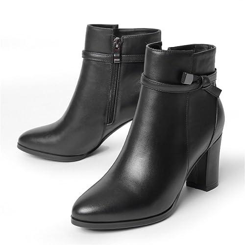 tubo corto de tacón/La versión coreana de Martin botas/ botines cuadrados de cuero