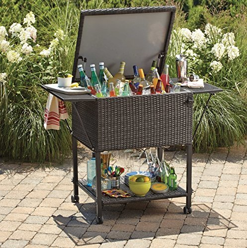 Lovely Wicker Cooler Cart | Outdoor Serving Cart With Wheels For Patio Bar And  Classy Teak Look