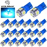 YITAMOTOR 20 PCS T10 Wedge 5-SMD 5050 Ice Blue LED Light bulbs W5W 2825 158 192 168 194