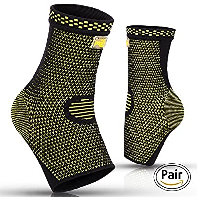 PURE SUPPORT Ankle Brace Sleeves with Best Compression - Effective Foot Pain Relief from Heel Spurs & Plantar Fasciitis - One Pair Socks for Womens, Men & Kids - Comfortable Fit & Highly Breathable from PURE SUPPORT