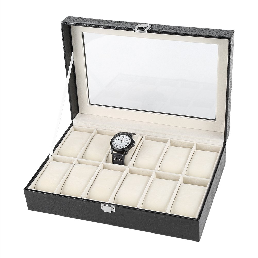 Fdit 12-Slot PU Leather Watch Box Large Watch Jewelry Display Storage Case Organizer Holder with Glass Top and Metal Lock for Men and Women (Black)