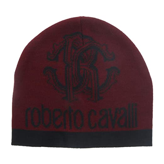 Roberto Cavalli ESZ027 02000 Maroon Logo Beanie Hat for mens at ... 77be5516801