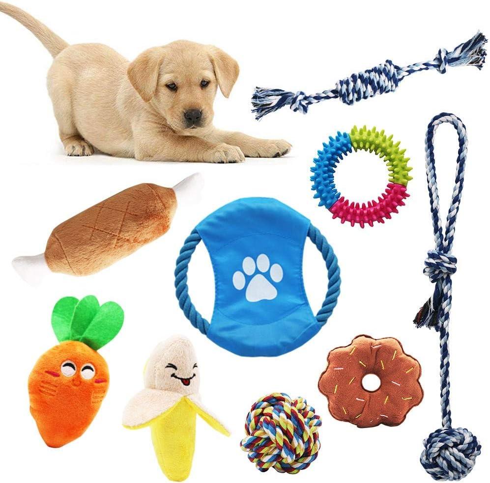 AWIIK - Juguetes para Perros Cachorros, pequeños y medianos. Pack de 9 Juguetes de Cuerdas, frisby, Pelota y Peluches para morder. Piezas durables y Resistentes.