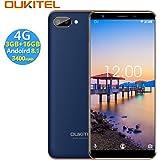 OUKITEL C11 PRO 4G SIMフリースマートフォン本体 - 5.5インチHD 全画面 18:9ディスプレイ Android 8.1 携帯電話本体 デュアルSIM(nano) MTK6739 クアッドコア 3GB RAM+16GB ROM 8MP+2MP リアデュアルカメラ 2MP フロントカメラ 0.1s 指紋認識 3400 mAh バッテリー【一年保証】(青)