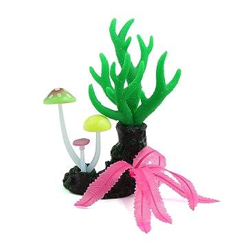 sourcing map Sourcingmap® Planta Coral Verde Brillante Efecto De Artificial Grueso De Hongos Pecera Decoración del Árbol: Amazon.es: Productos para mascotas