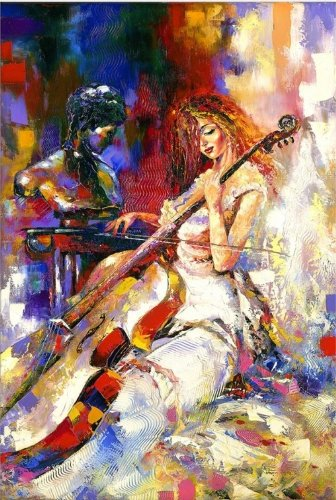 Startonight Wall Art Canvas Woman Playing the Violoncello, Music USA Design for Home Decor, Dual View Surprise Artwork Modern Framed Ready to Hang Wall Art 23.62 X 35.43 Inch Original Art (Halloween Decor Hobby Lobby)