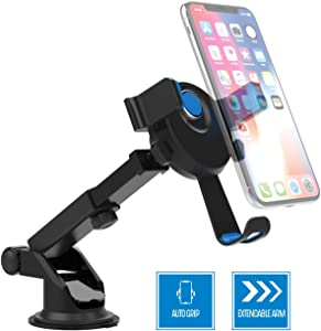 Premier Phone Holder Car Magnetic Grip Qi Wireless Charging Pad Extendable Dash Mount Dashboard Windshield Mounting Cellphone Clamp for Apple iPhones/Android Smartphone, Blue Red Black