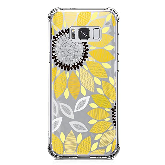 detailed look b7573 aba2e Galaxy S8 Plus Case Clear with Sunflower Design Shockproof Protective Case  for Samsung Galaxy S8 Plus 6.2 Cute Summer Yellow Flower Pattern Flexible  ...