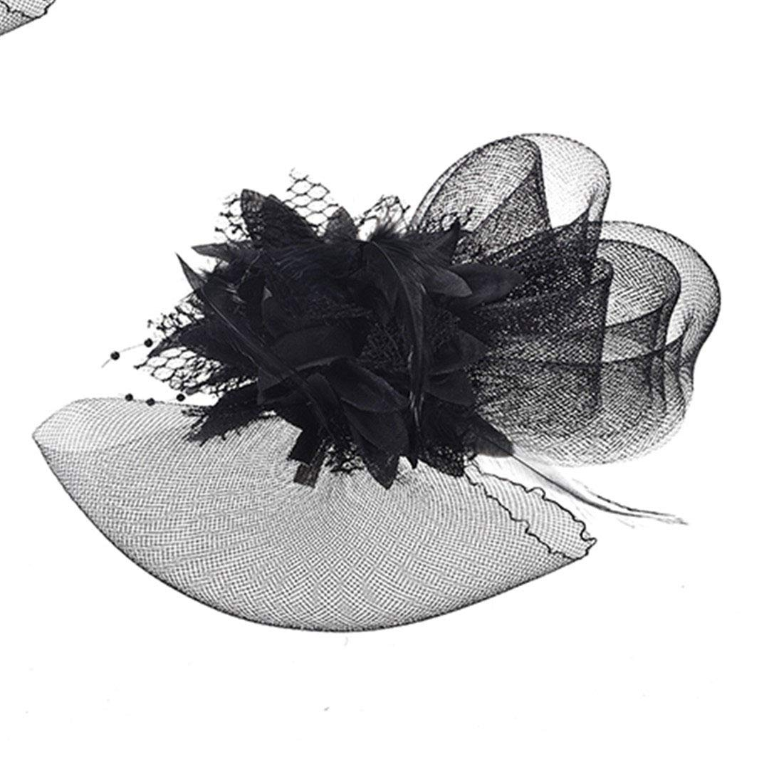 French Veiling Cocktail Hat Mesh Flower Headpiece Bridal Floral Hairpins