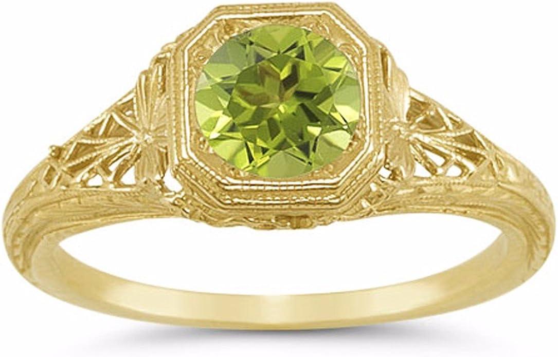 Women 14k Yellow Real Gold CZ Pink Birthstone Oval Filgree Fashion Ring Band