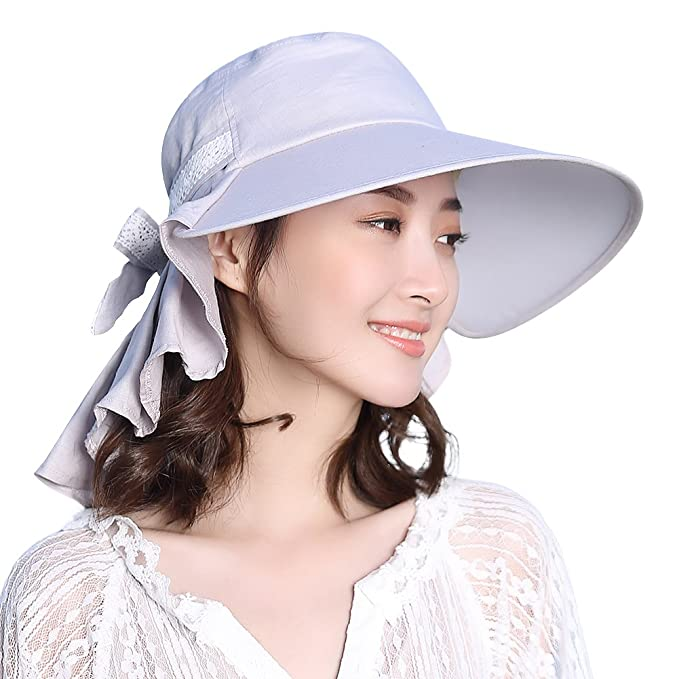 ead36e298d6 Packable Sun Hat for Women Summer Hiking Safari Gardening Beach Fishing SPF  Ponytail Gray