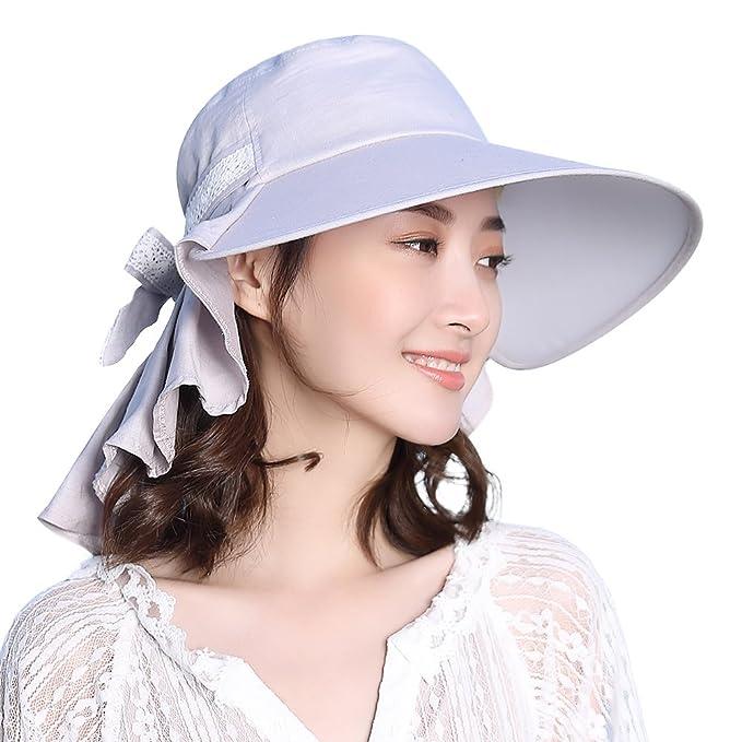 Packable Sun Hat for Women Summer Hiking Safari Gardening Beach Fishing SPF  Ponytail Gray 974802651f7b