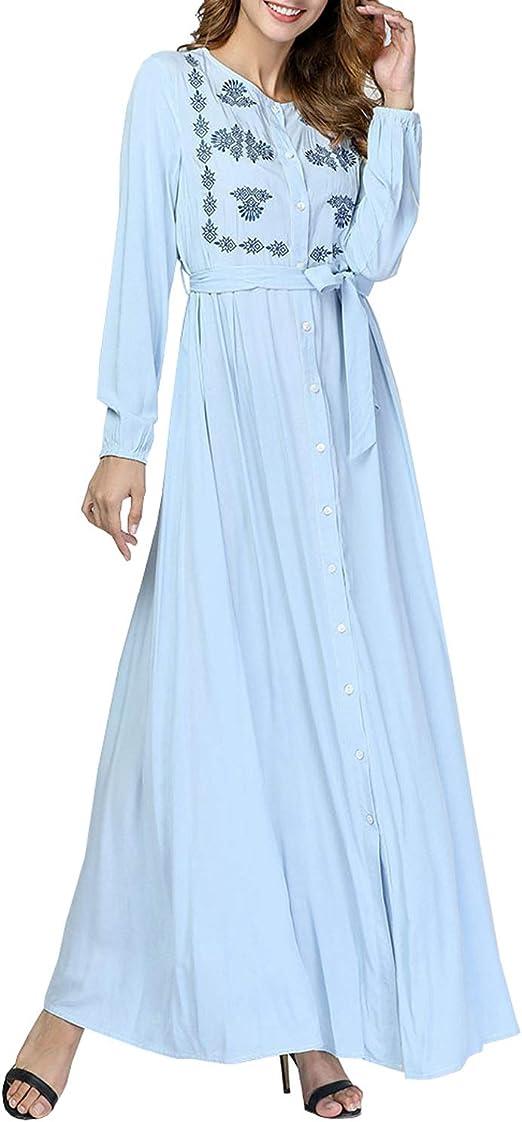 HEYG-Dress Vestir Moda Casual Camisa Bordada de Manga Larga con Cuello Abotonado Maxi Vestido Camisero de Mujer (Color : Azul Claro, Size : 4XL): Amazon.es: Jardín