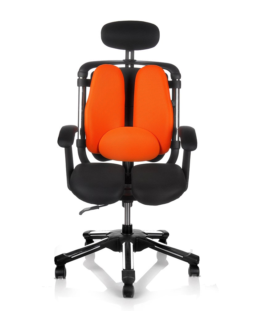 HARA CHAIR NIETZSHE H Office Chair Twin Based Pressure Relief of the Intervertebral Discs and Improved Buttock Circulation Color Black//Orange Mesh NT2H T