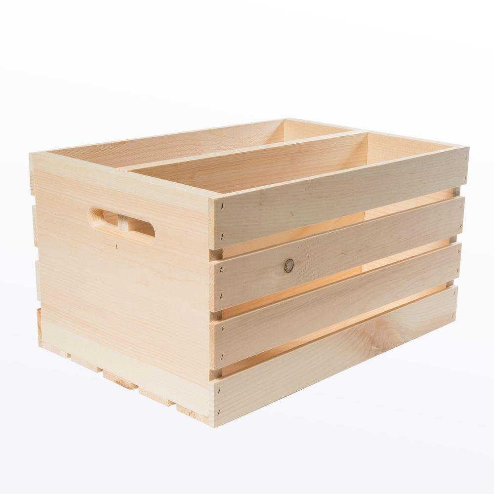 Crates & Pallet 18 in. x 12.5 in. x 9.5 in. Divided Wood Crate (2-Pack) Houseworks Ltd. 94641
