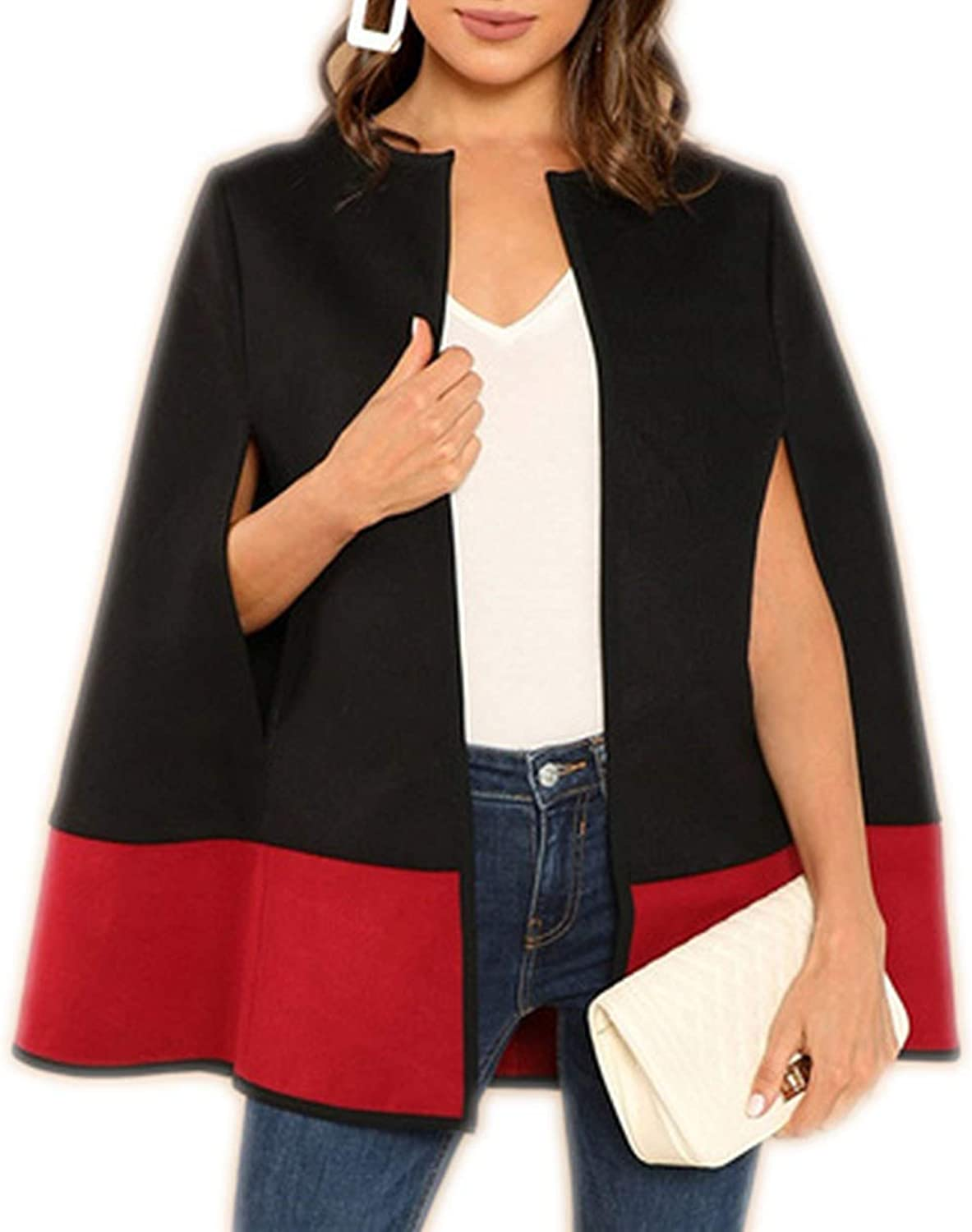 cant be satisfied Weekend Casual Black Round Neck Two Tone Open Front Cloak Sleeve Cape Coat Lady Outercoat New,Black,L