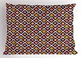 Ambesonne Mexican Pillow Sham, Folkloric Geometric Ikat Pattern Native Vintage Design Elements Tribal Ornament, Decorative Standard Size Printed Pillowcase, 26 X 20 inches, Multicolor