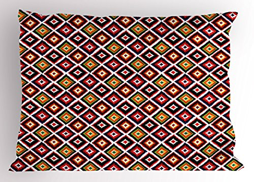 Ambesonne Mexican Pillow Sham, Folkloric Geometric Ikat Pattern Native Vintage Design Elements Tribal Ornament, Decorative Standard Size Printed Pillowcase, 26 X 20 inches, Multicolor by Ambesonne