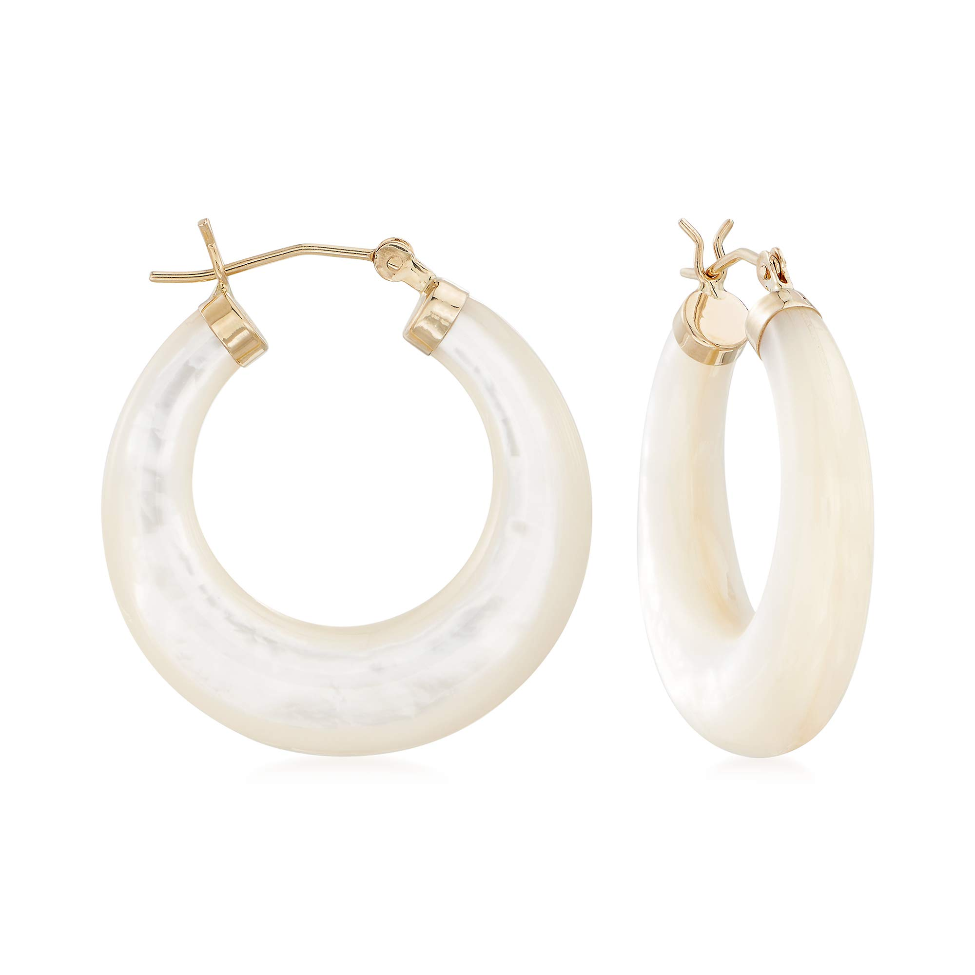 Ross-Simons Mother-Of-Pearl Hoop Earrings in 14kt Yellow Gold
