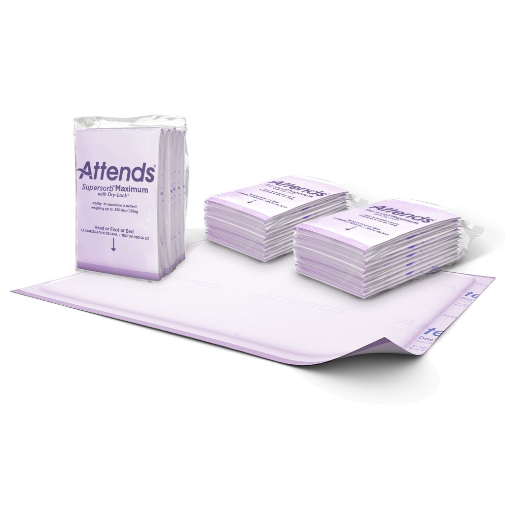 Attends Supersorb Maximum, Premium Underpads with Dry-Lock Technology, Adult Incontinence Care, 30''x36'', 60Count by Attends