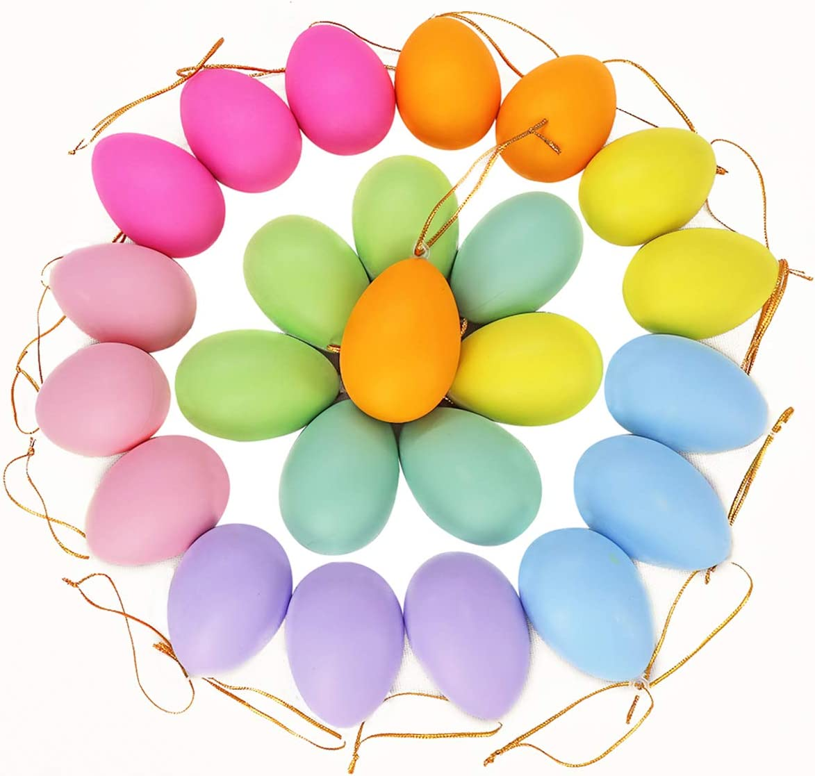 Ivenf Easter Decorations Egg Hanging Ornaments 24 pcs, Colorful Plastic Eggs Easter Tree Ornaments Decor, Kids School Home Office Party Supplies Gifts