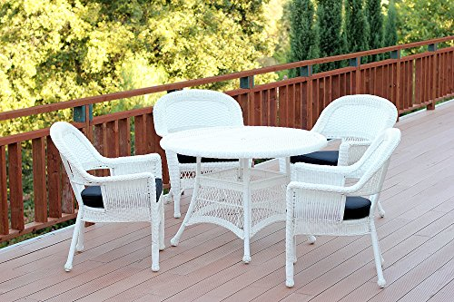 Jeco W00206D-B-G-FS017 5 Piece Wicker Dining Set with with Black Cushions, White (Wicker White Sets Outdoor Dining)