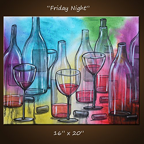 Art Painting Abstract Modern Dining Room Bar Decor Wine Bottles Glasses ...  U0026quot;