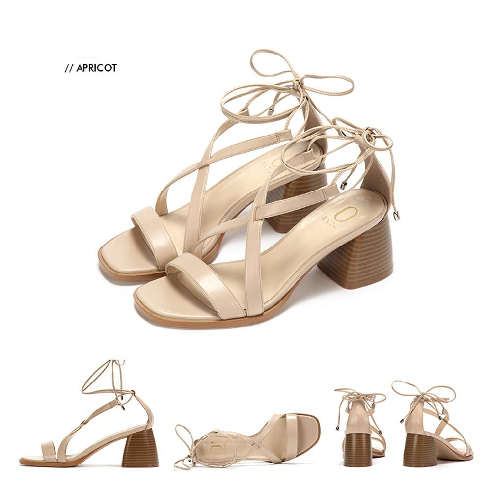 Apricot Women's shoes Summer Fashion Square Head Wood Grain Thick with Straps High-Heeled Sandals