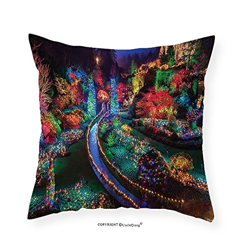 VROSELV Custom Cotton Linen Pillowcase Country Home Decor Colorful Christmas Light at Buchart Gardens Celebrations Seasonal Nature Picture Bedroom Living Room Dorm Decor Teal Red - Victoria At Stores Gardens