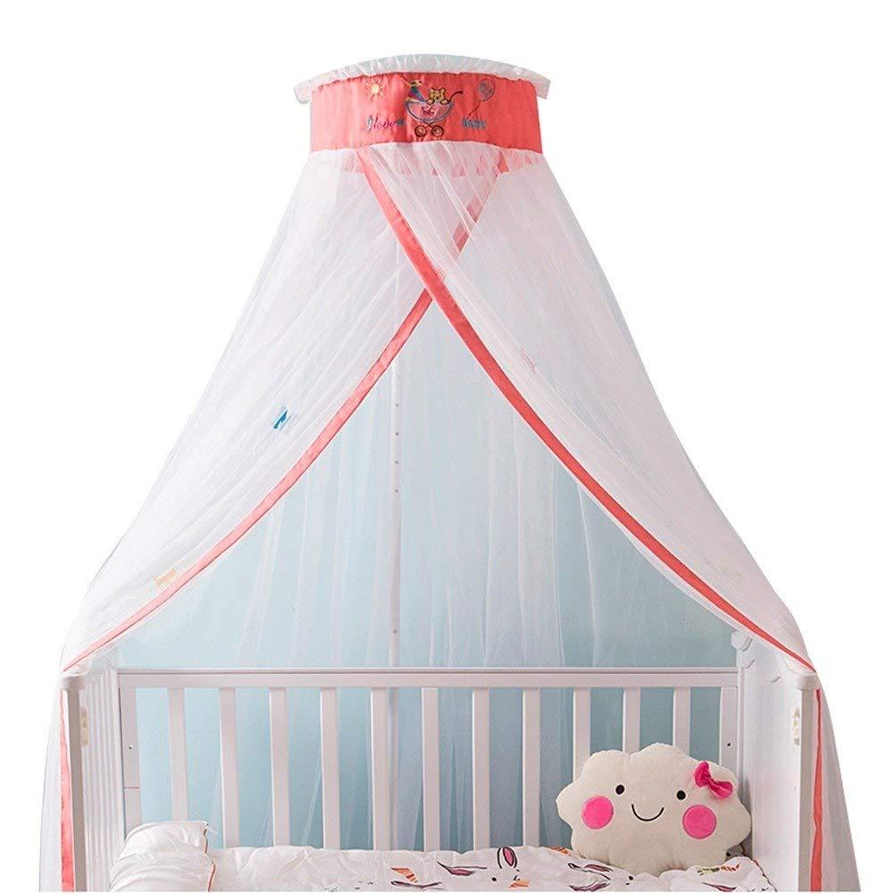かわいい子供ベッド蚊帳ベッド天井糸ドーム蚊帳寝室装飾カーテンテント高さ調節可能な虫よけ多色オプション (色 : ピンク)  ピンク B07QFLVTR1