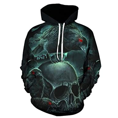 55f5d76bfe3a Casual Skull Hoodies Cool 3D Print Mens Hoodie Fashion Clothes Winter  Sweatshirts Pullover Autumn Outdoor Sport