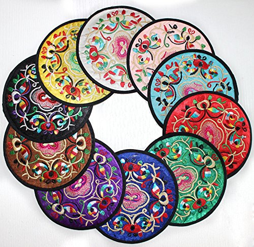 "TideTex 10-Piece Embroidery Satin Silk Creative Coaster Round Multicolor Chinese Style Cup Mats Value Pack Coaster Drinks Tea Cup mat Tableware Mats Pretty Embroidered Gift Set (4.9""x4.9"", Multicolor)"
