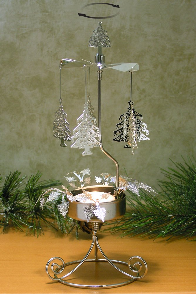 BANBERRY DESIGNS Christmas Tree Candle Holder - Spinning Candle with Laser Cut Design - Carousel Candle - Rotating Candle Holder 9514