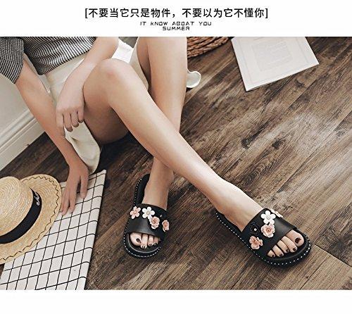 zapatillas LiUXINDA XZZ son de Las mujer 5 3 verano moda Corbata de para nuevas rosa UK negro YY4dr